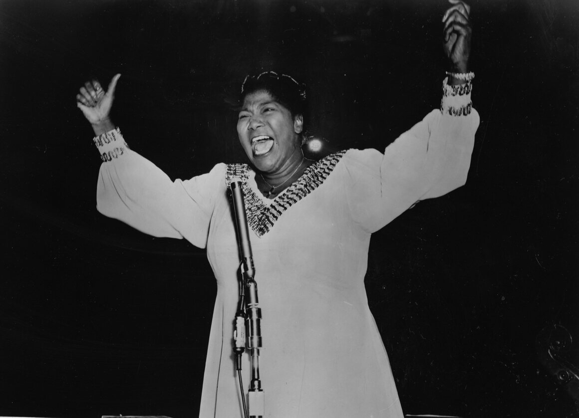Mahalia Jackson performs on stage in 1959.