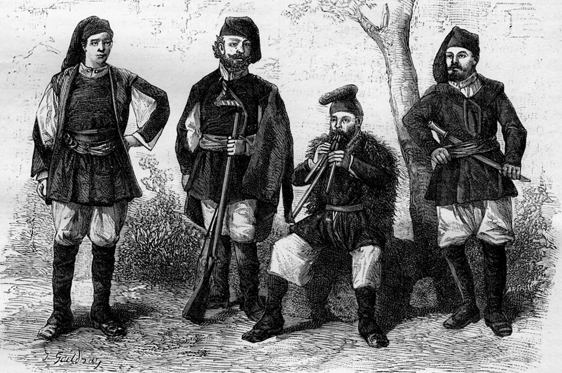 An illustration of Sardinian men wearing traditional costumes from the 18th century.
