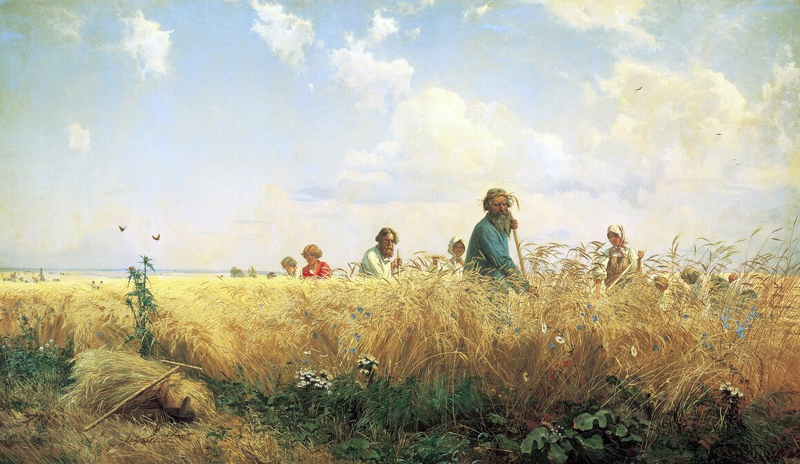 """""""Peasants Gather the Harvest,"""" painted around 1887 by Gregory Grigorjewitsch Mjassojedow."""