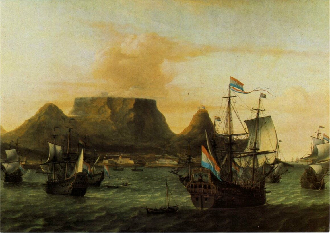 A painting from 1683 shows Dutch East India Company ships in South Africa's Table Bay, the northern end of the Cape of Good Hope.