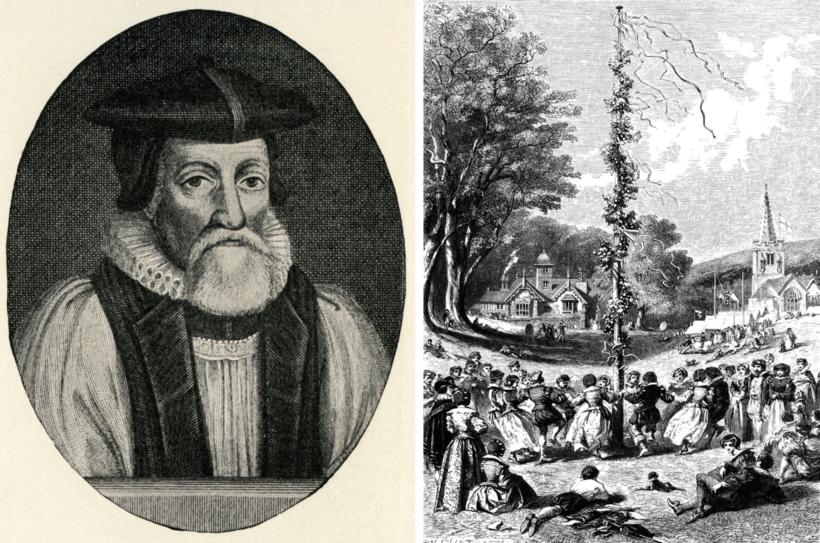 Thomas Morton (left) was fond of maypoles and May Day celebrations, like this 17th-century one in England (right).