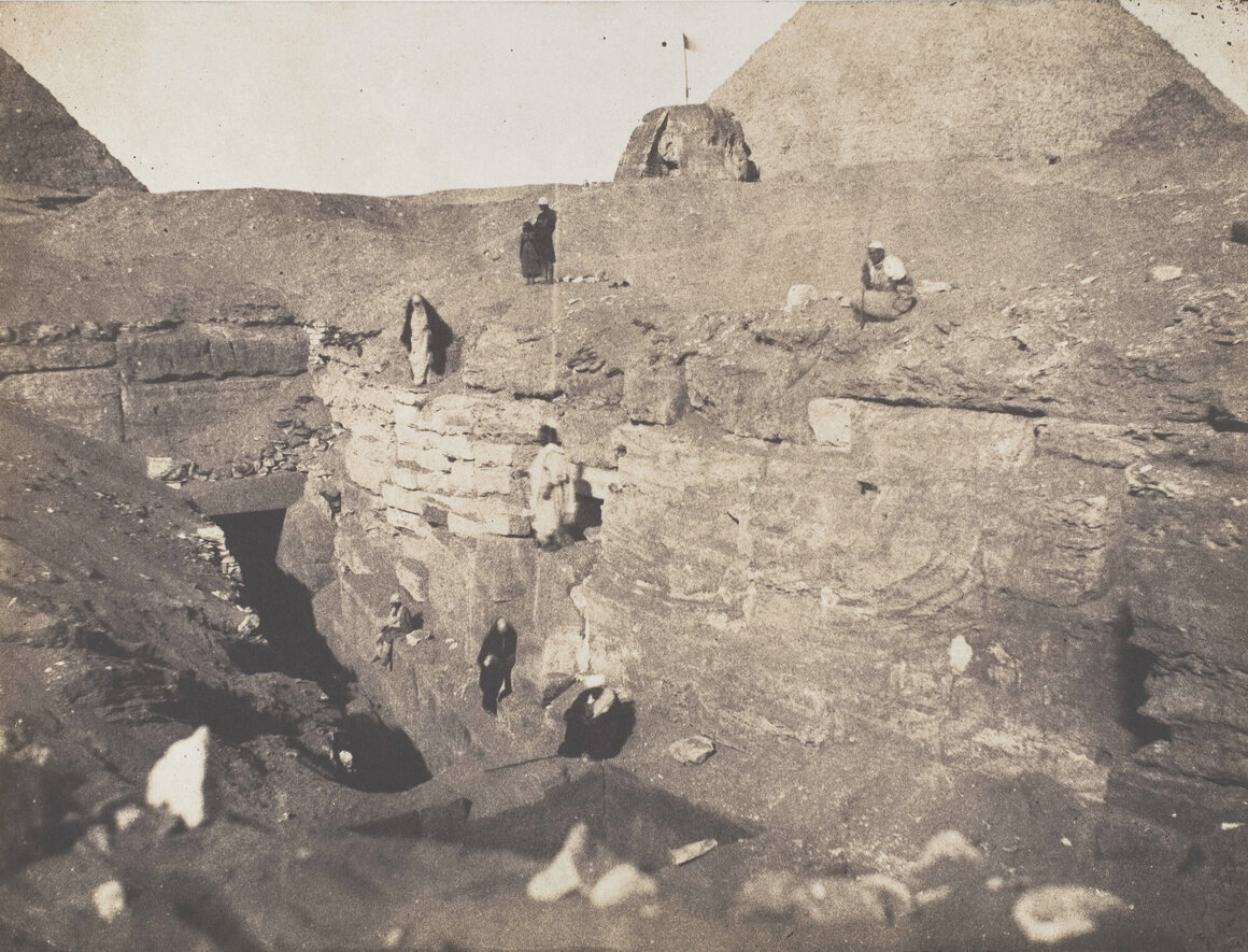 """In 1853, Greene photographed an excavation taking place            """"to the left of the Sphinx."""""""