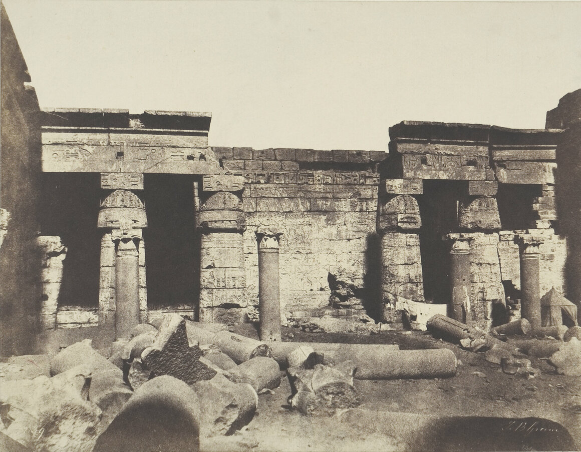 Greene photographed the temple of Ramesses III at Medinet            Habu, where he also excavated.