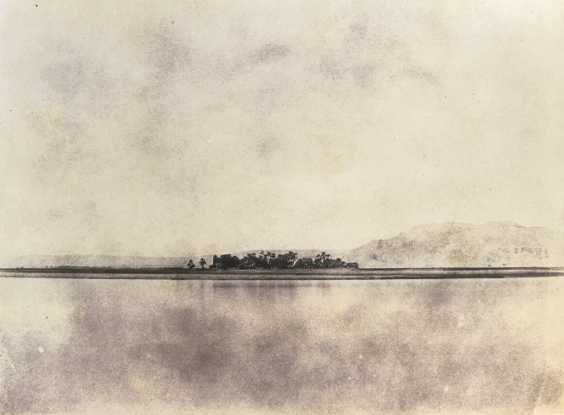 Greene's camera captured many sweeping landscapes,            including this 1854 view of the bank of the Nile at Thebes.