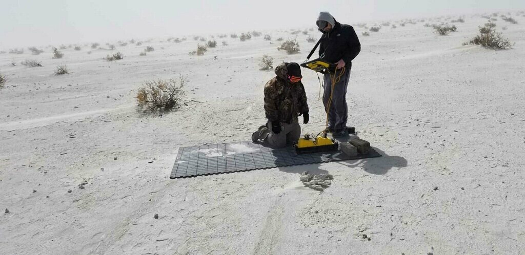 To gather their data, the researchers laid down a mat and rolled their ground-penetrating radar machine across it.