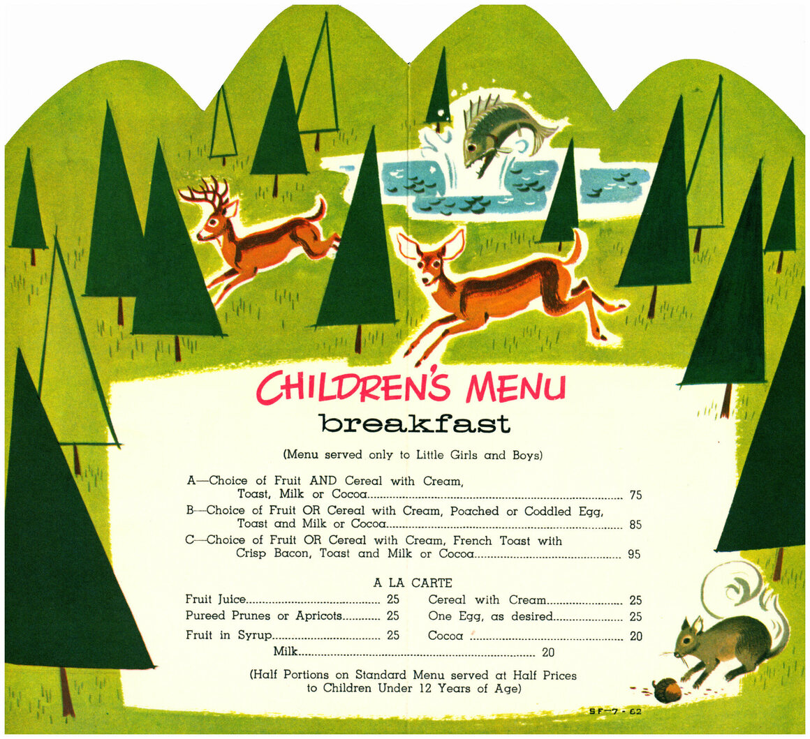 A charming children's menu from the Union Pacific Railroad Company.