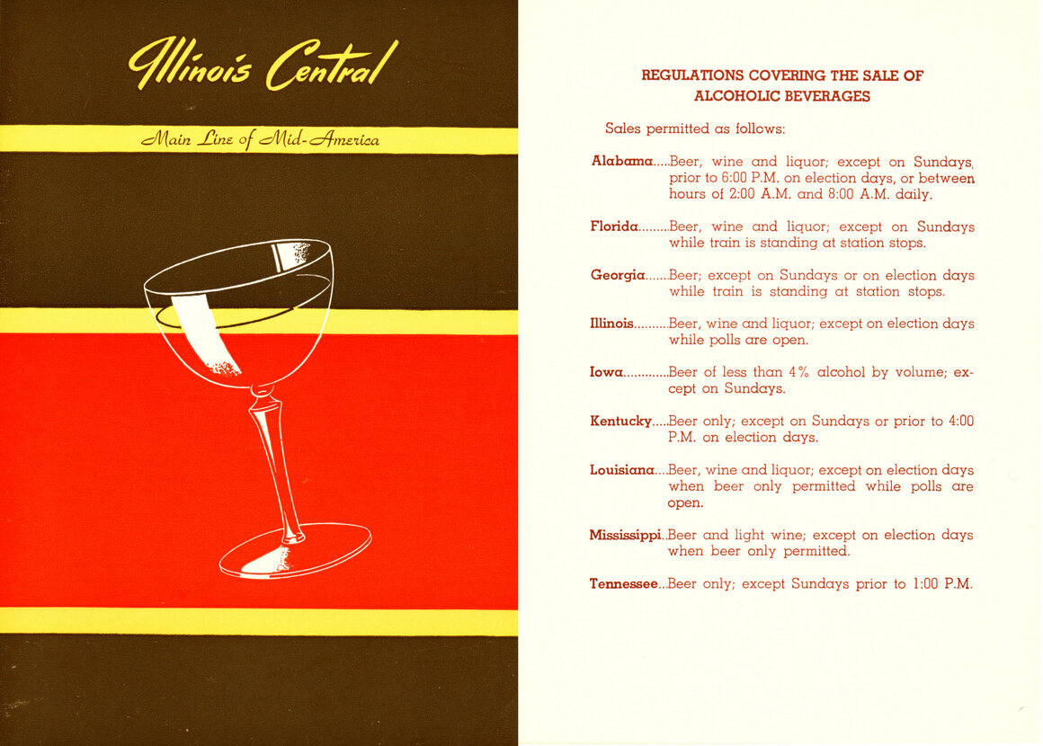 This Illinois Central Railroad Company menu from 1962 shows the liquor laws in the states along the route.