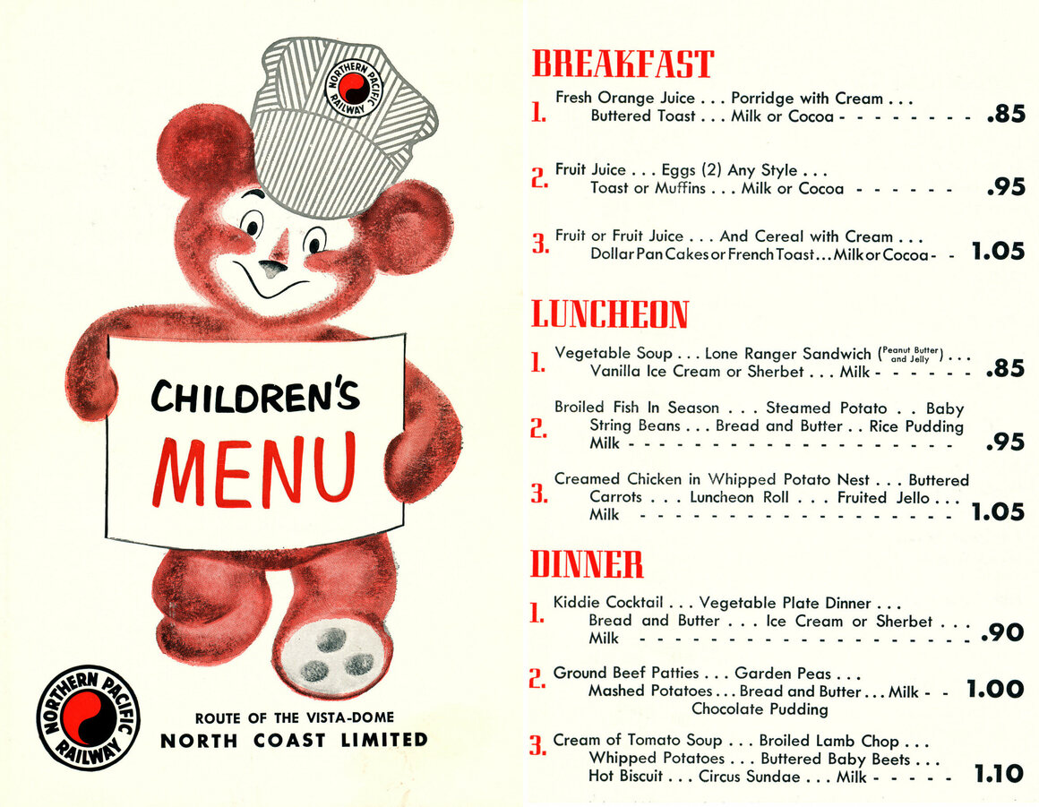 This children's menu from the Northern Pacific Railway Company in 1962 offers a