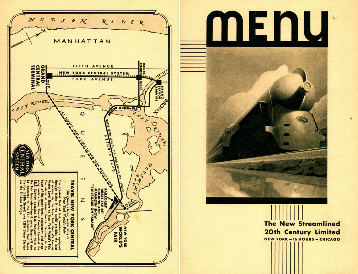 A glamorous New York Central Railroad Company menu for the New Streamlined 20th Century Limited in 1939.