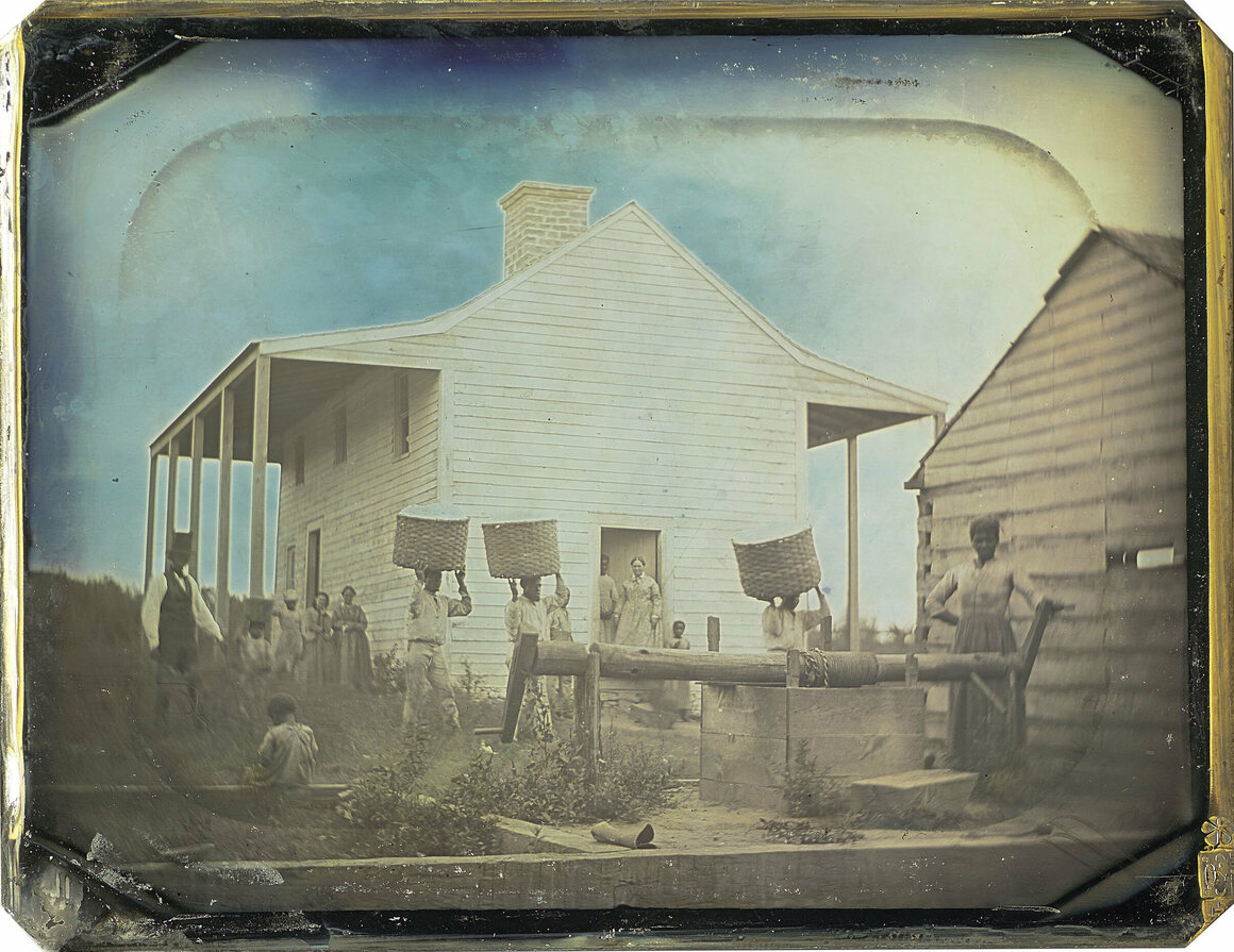 An image of the Gentry daguerreotype with the frame removed. Gentry's two-story home was much smaller than the houses that the wealthiest slaveowners lived in.