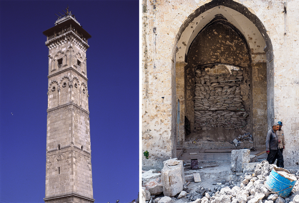 At left, a photograph of the Great Mosque's minaret as it appeared in 2005, after reconstruction work on the facade. At right, workers stand near a sandbagged gateway to Aleppo's Great Mosque in 2019.