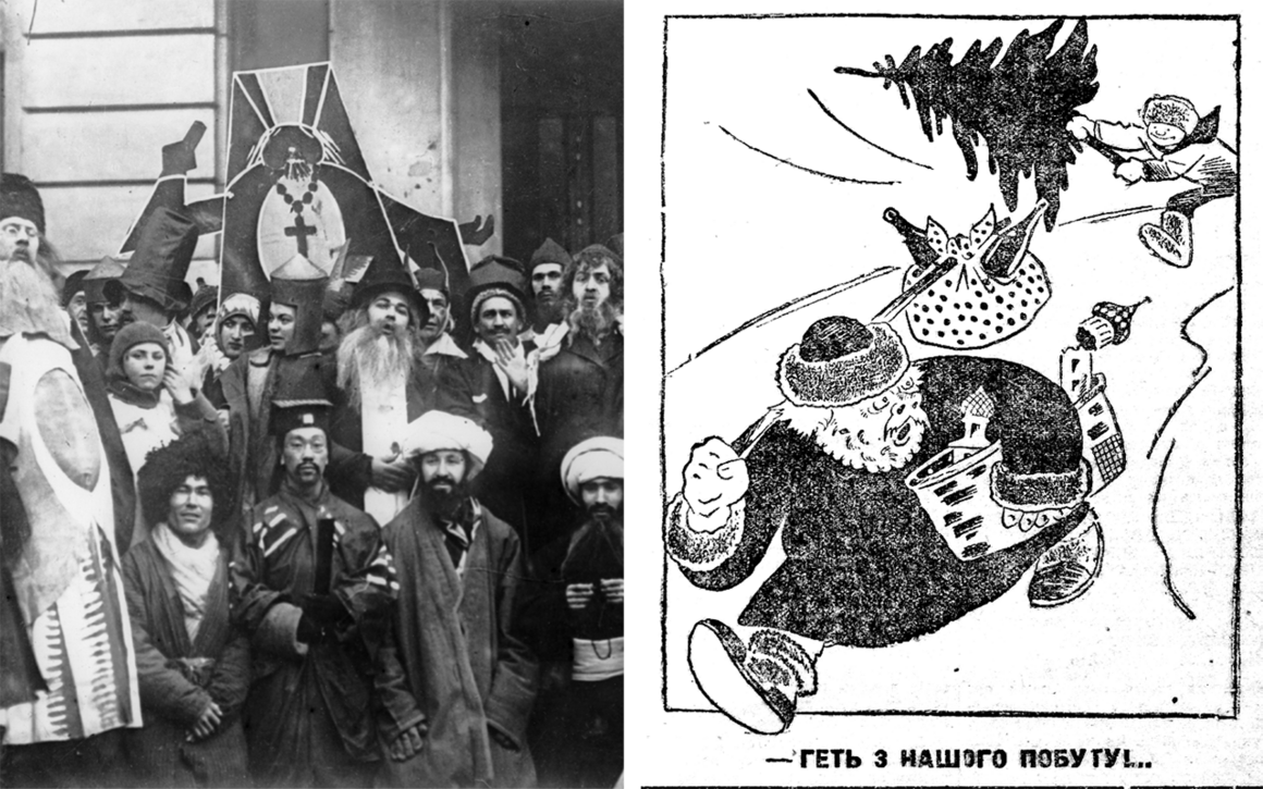 "The Young Communist League held an anti-religion demonstration in Moscow in 1923 (left). Propaganda, such as this 1928 Anti–Ded Moroz cartoon from Ukraine, reflected the Soviet distrust of religion (right). The caption roughly translates to ""Go away from our style of celebration."""