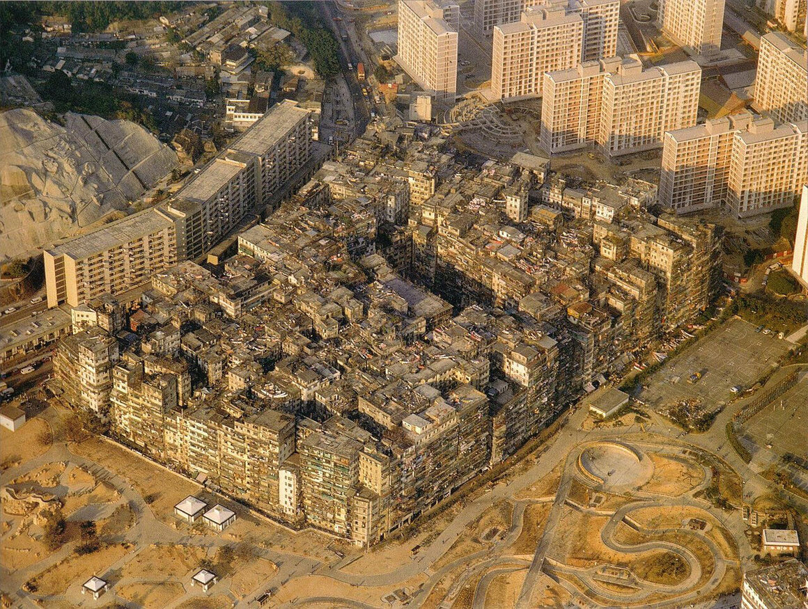 This aerial photo shows Kowloon Walled City in 1989, while plans for its demolition were underway.