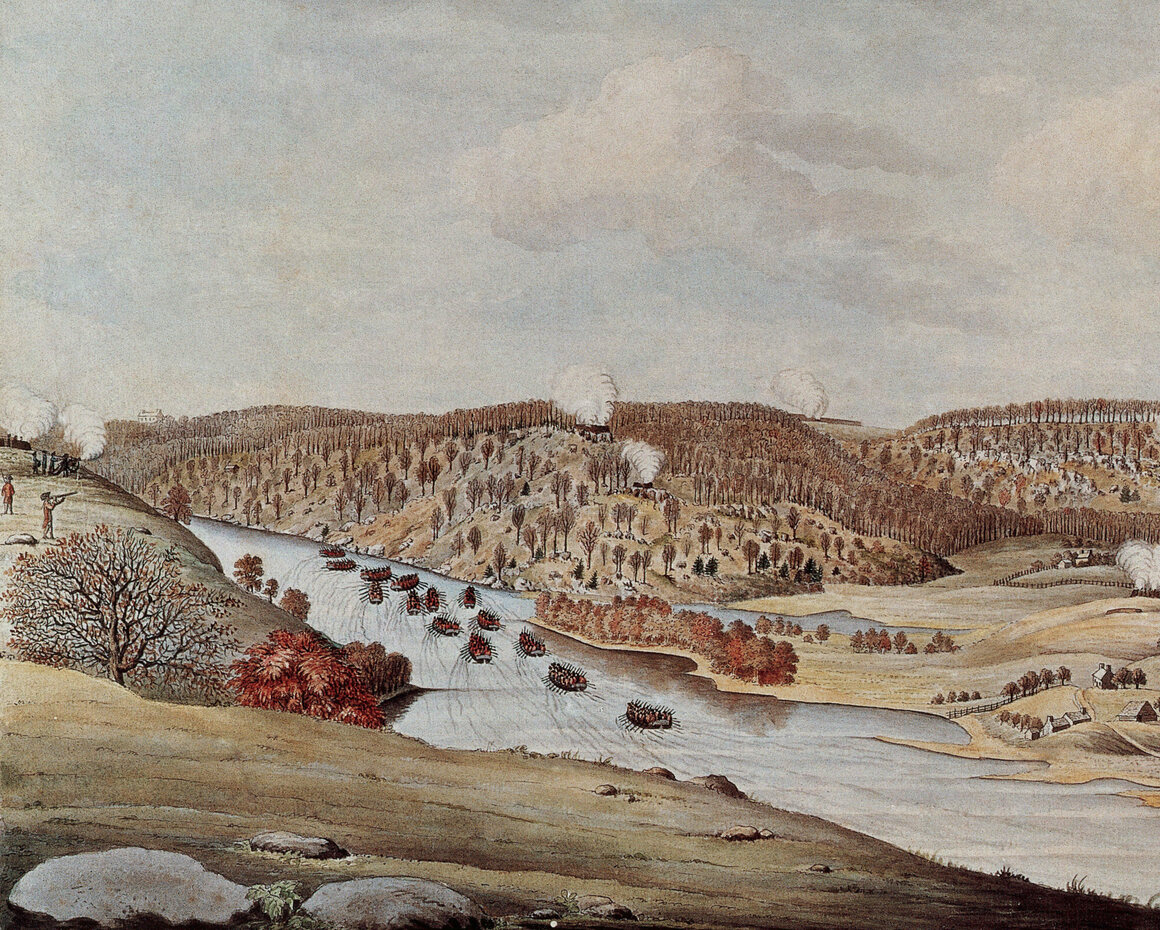 A watercolor by Thomas Davies depicting the attack on Fort Washington by the British and Hessian Brigades. Margaret Corbin was taken prisoner after fighting in the battle.