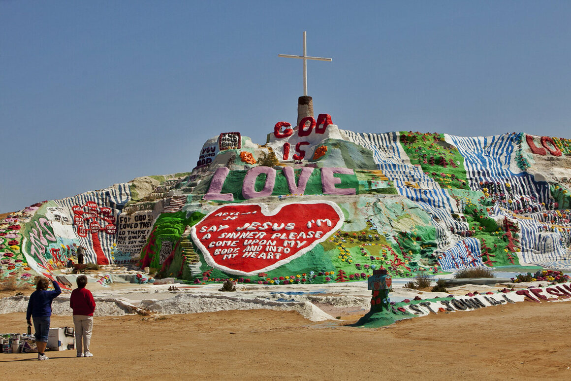 Salvation Mountain, Leonard Knight's folk art and religious creation in the desert of Niland, California.