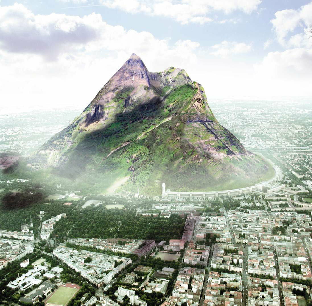 A mock-up of The Berg, a proposed artificial mountain in Germany.