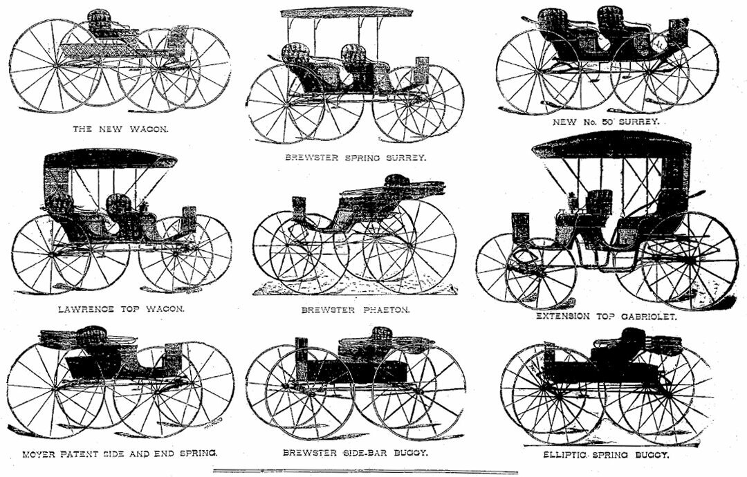 Moyer's carriages were advertised in circulars like this one from June 1887.