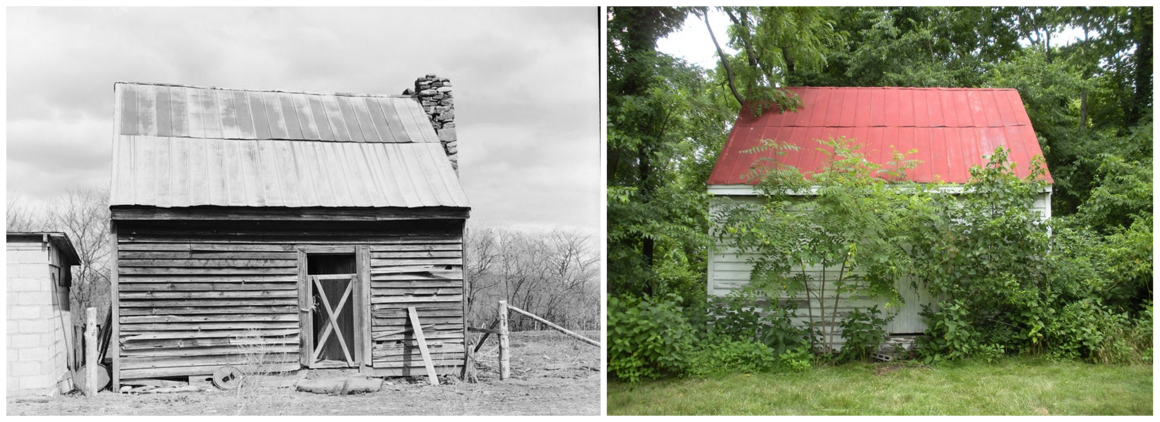 A slave cabin at the Green Hill Plantation in Campbell County, Virginia, in 1933 and in 2014.