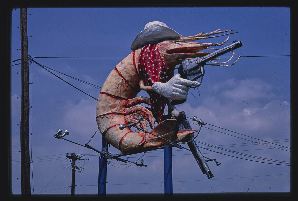 Everything really is bigger in Texas—including this pistol-packing jumbo shrimp in Houston.