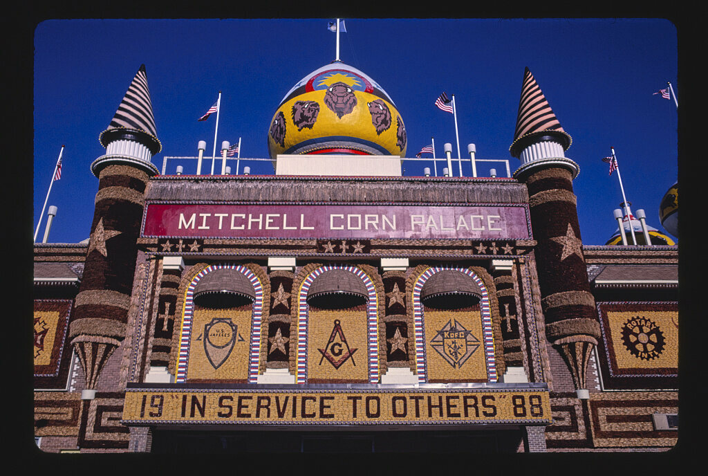"Mitchell, North Dakota's ""Corn Palace"" is about as gaudy as a roadside structure can be."