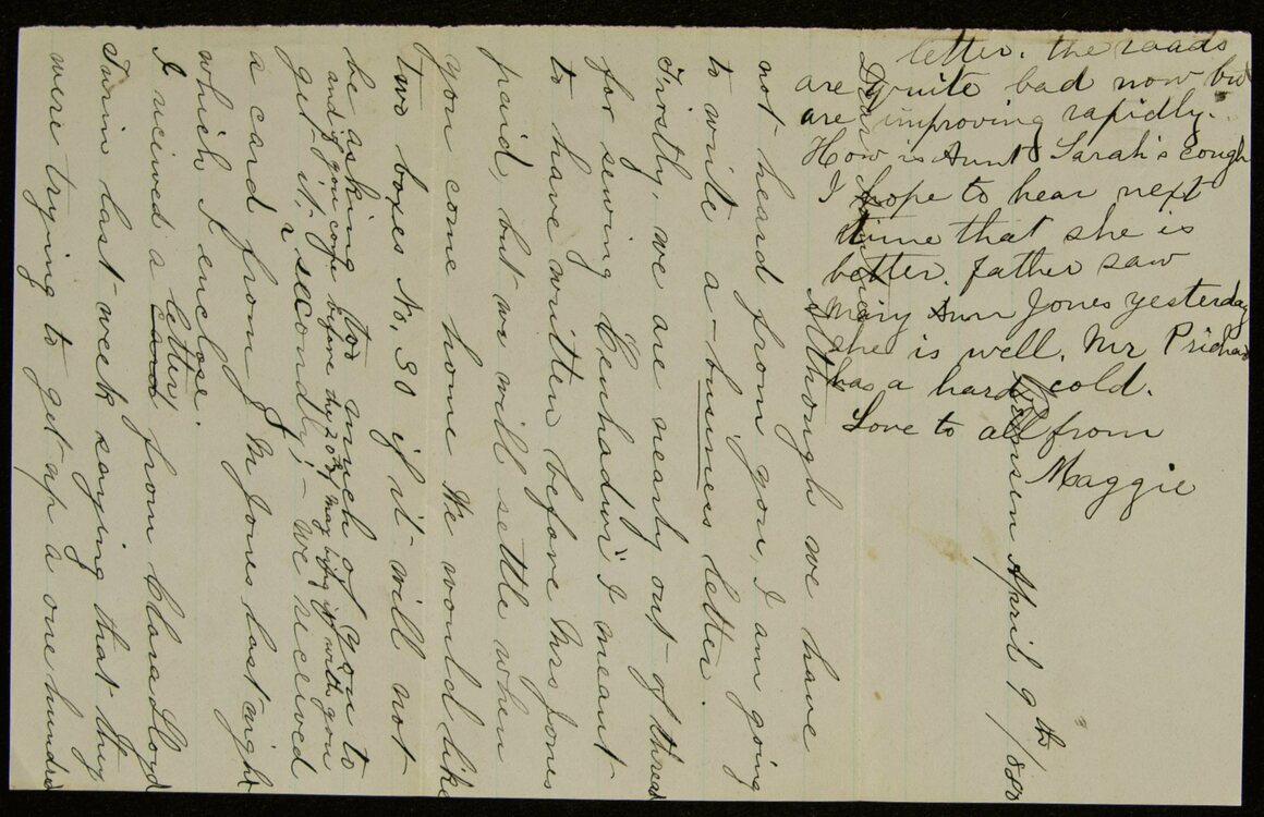The Newberry wants help deciphering 140-year-old letters such as this one, written by a teacher named Anna Everett, who settled in her family's home in Remsen, New York.