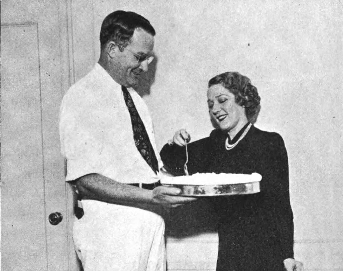 """Strause offers an Orange Chiffon Pie to """"America's Sweetheart,"""" Mary Pickford."""