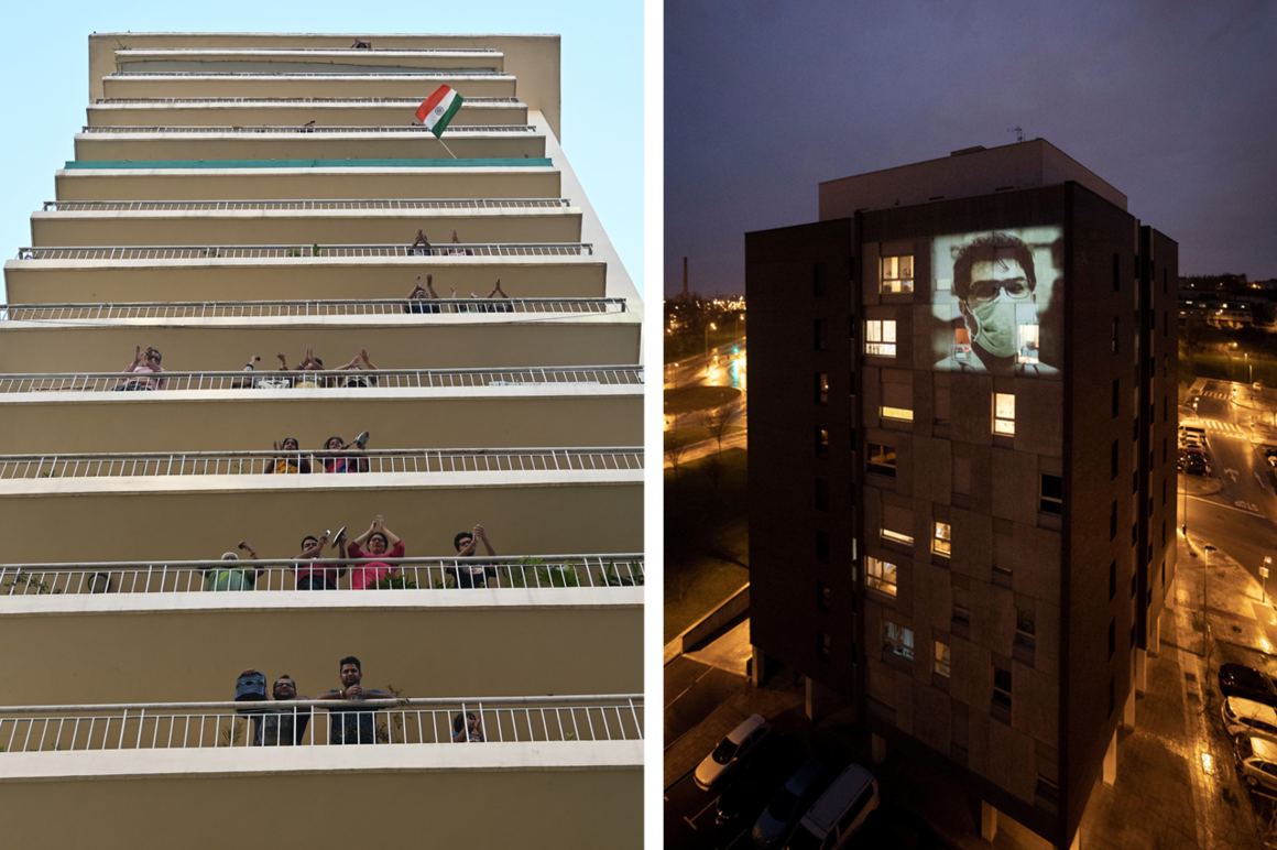 In Gurgaon, India, residents gather to clap and make noise with kitchenware to thank essential service providers during a civil curfew on March 22, 2020 (left). In Pamplona, Spain, an image was projected as part of a planned collective celebration of health workers on March 15, 2020 (right).