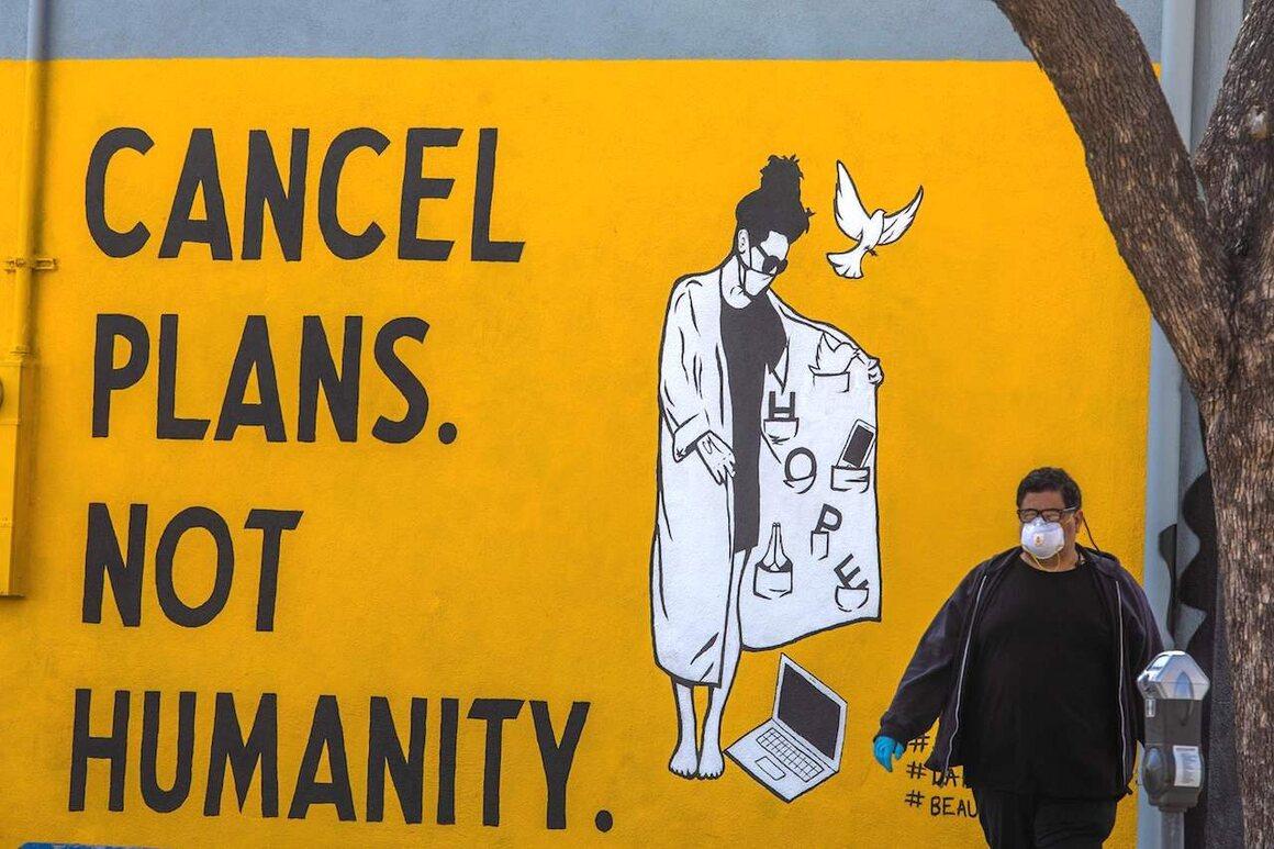 A mural in Los Angeles, California, April 4, 2020.