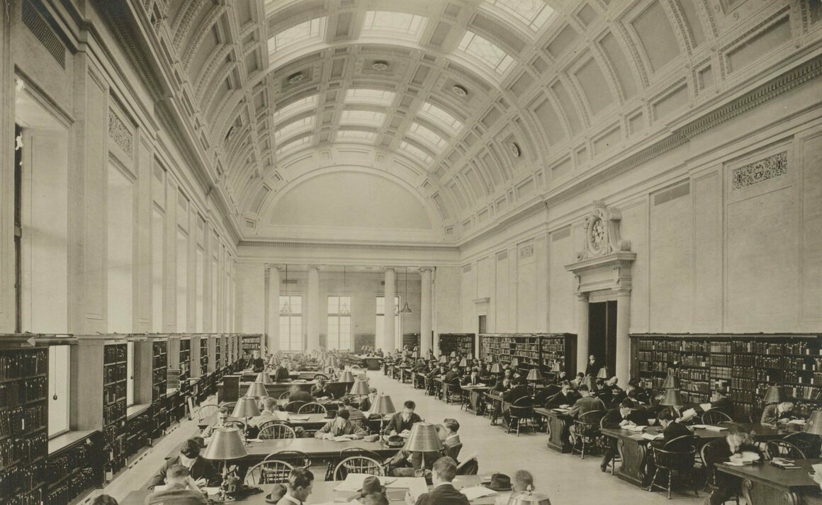 The reading room of Harvard's Widener Library in 1915.