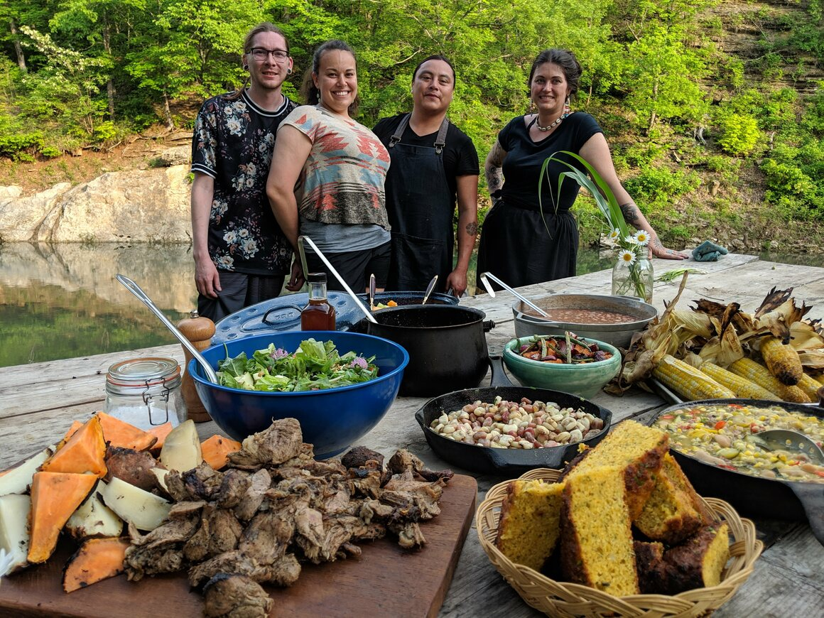 From left to right: Barton's boyfriend and Muscogee Creek Nation citizen Daniel Taylor and chefs Taelor Barton, Bradley Dry, and Nico Albert at the end of the day of cooking and filming for a BBC show.