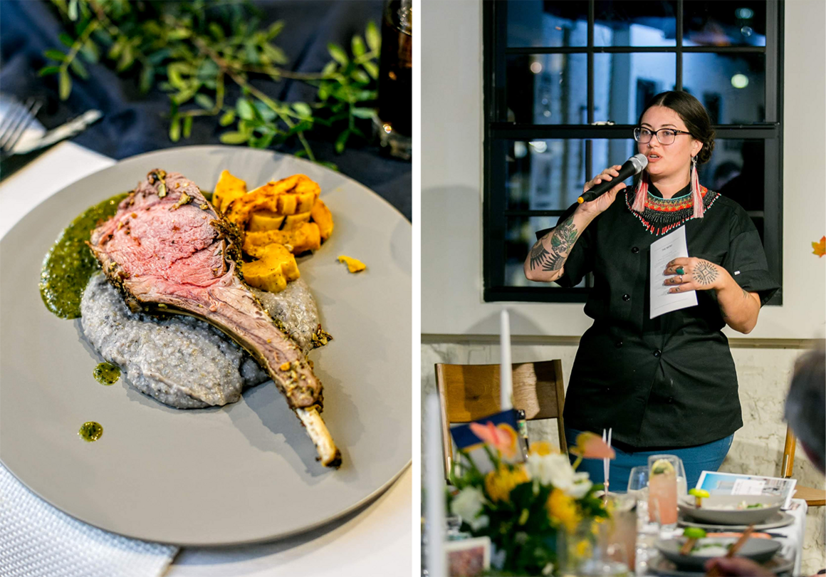 Albert's seed-crusted venison chop with roasted squash, Pawnee-blue-corn grits, and green-chile herb sauce (left) and Albert speaking at a dinner (right).