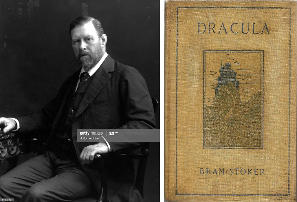 Author Bram Stoker and the first American edition of <em>Dracula</em>, published in 1899.