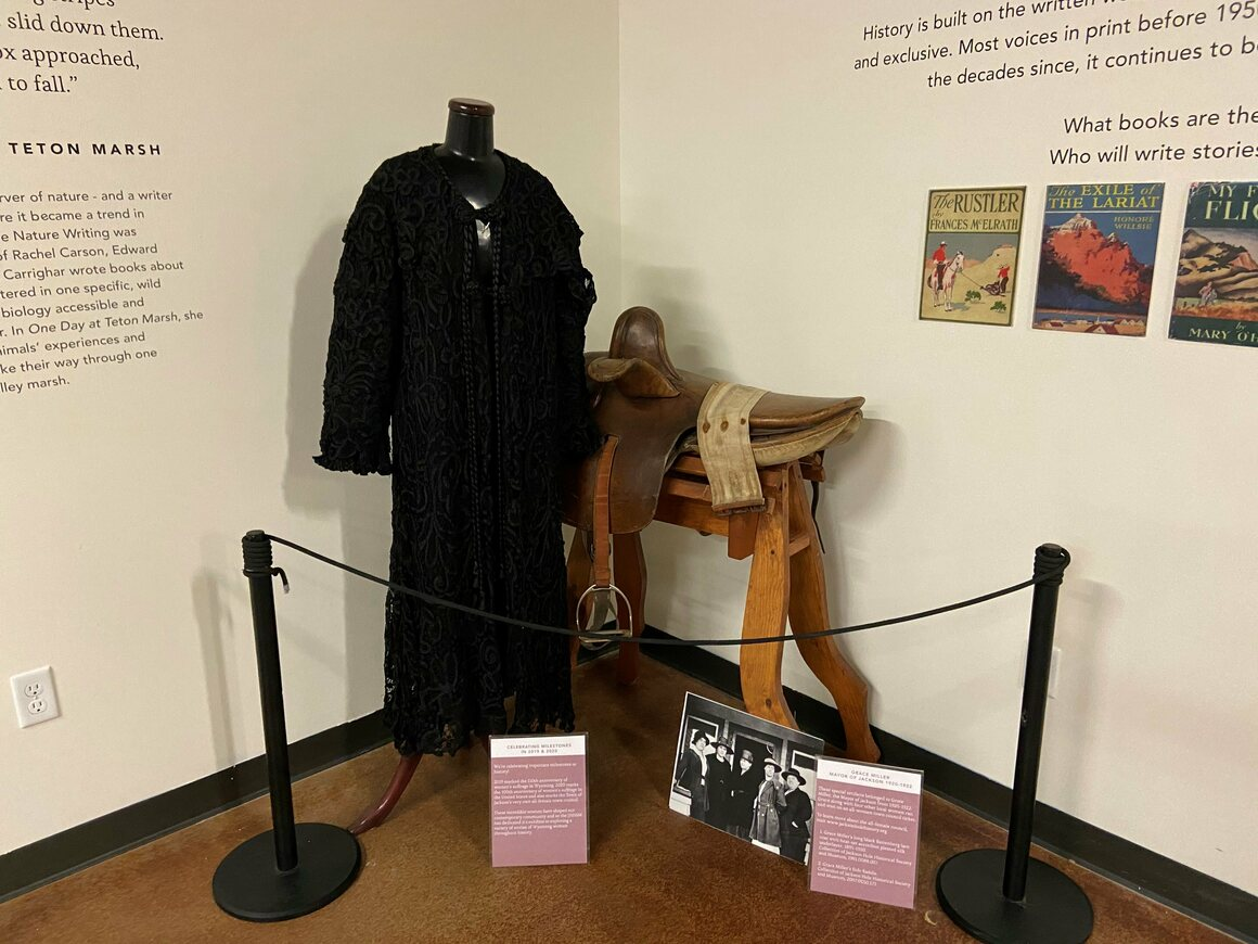 Miller's jacket and side saddle, exhibited at the Jackson Hole Historical Society and Museum.