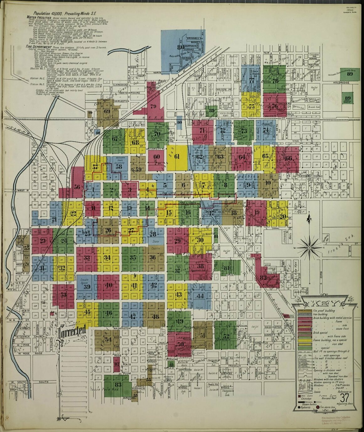 A Sanborn Fire Insurance Map from Lincoln, Nebraska, from 1903.