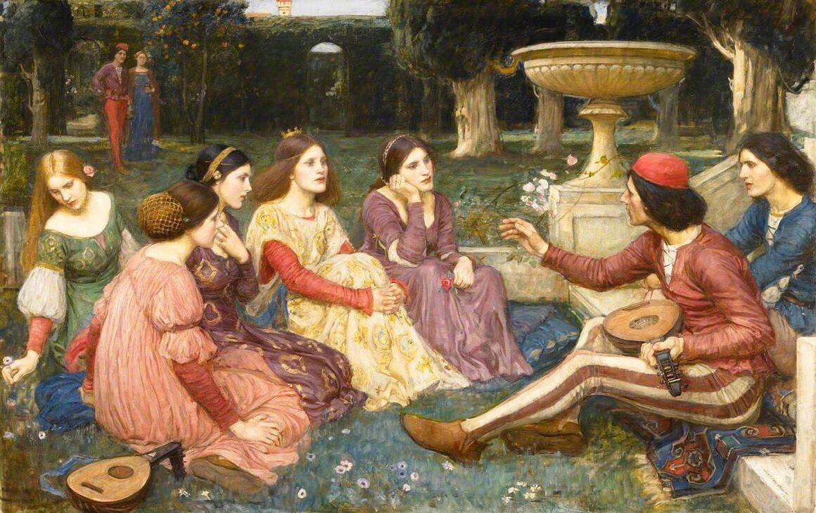 A scene from Boccaccio's <i>Decameron</i>.