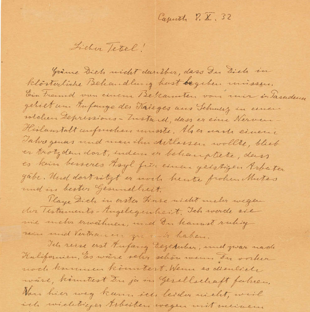 """A letter Einstein wrote to his son, Eduard, to comfort him during psychiatric treatment. He addresses him by the affectionate nickname """"Tetel."""""""