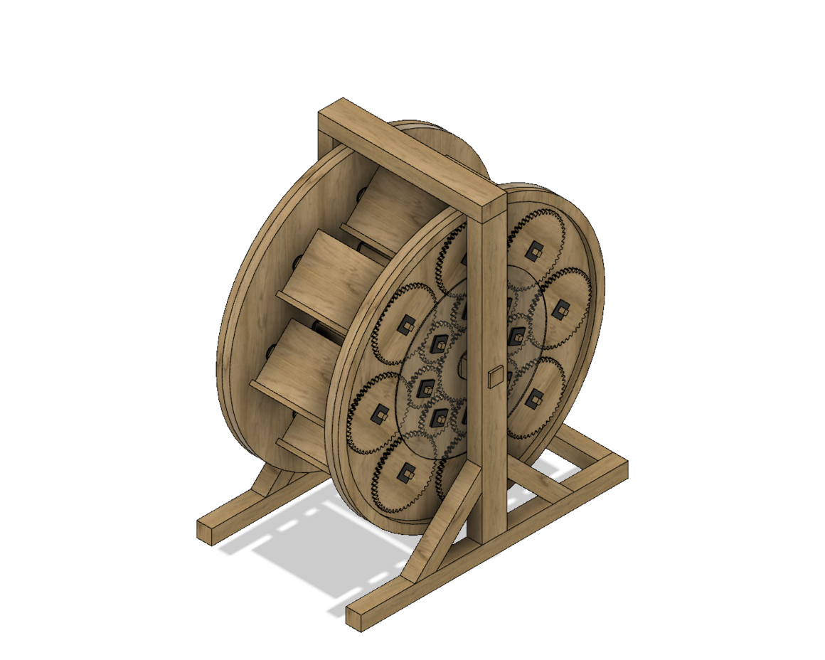The RIT bookwheel was a thoroughly modern take on a Renaissance design. Before building it, the students designed a 3-D digital model.