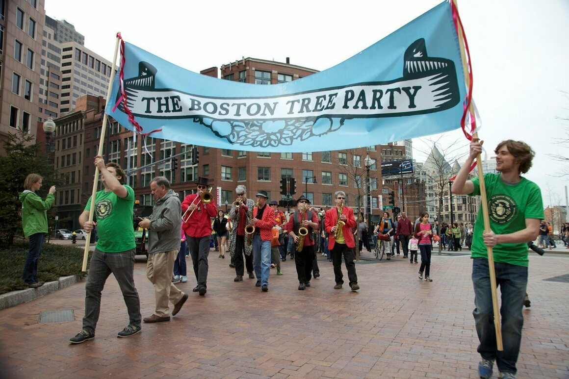 The Boston Tree Party kicked off with actual parties.
