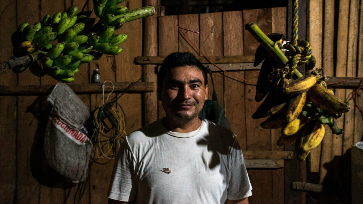 Efrain Cab, 34, in the kitchen of his father's country house.