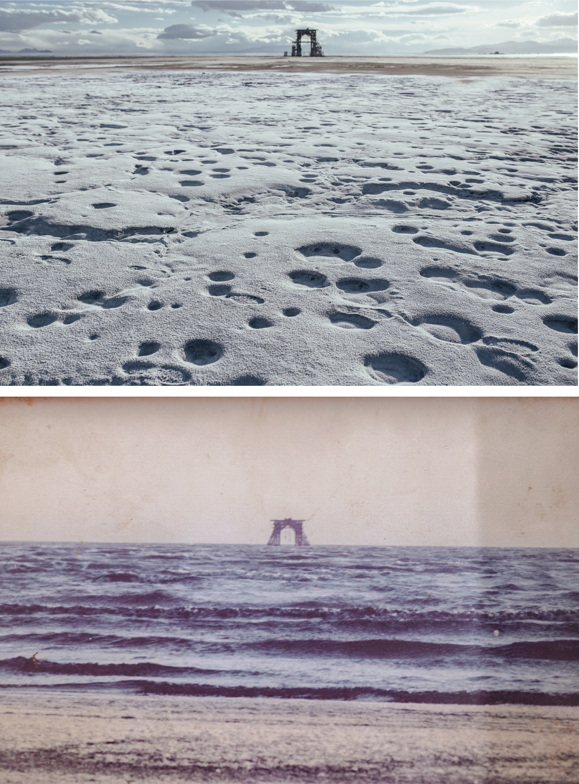 """A 2018 photograph of the arid, salt-crusted lakeshore of Sharafkhaneh, a port that was once a draw for tourists. The imposing structure in the background, """"Tal,"""" was once used to repair ships in the water (top). The author's father photographed the same area in 1992 (bottom)."""