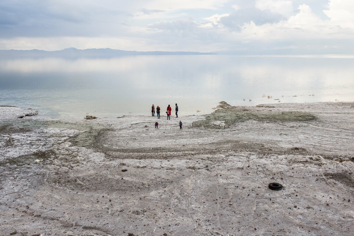 Visitors to Lake Urmia in 2016. The lake has shown some signs of recovery in recent years.