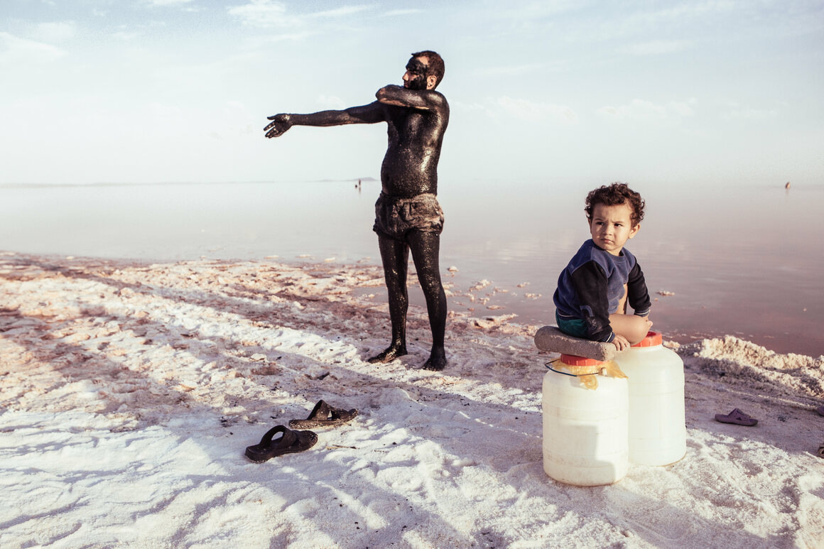 The salt and mineral-rich mud of Lake Urmia, seen here in 2017, are reputed to have healing properties, especially for skin and rheumatic afflictions.