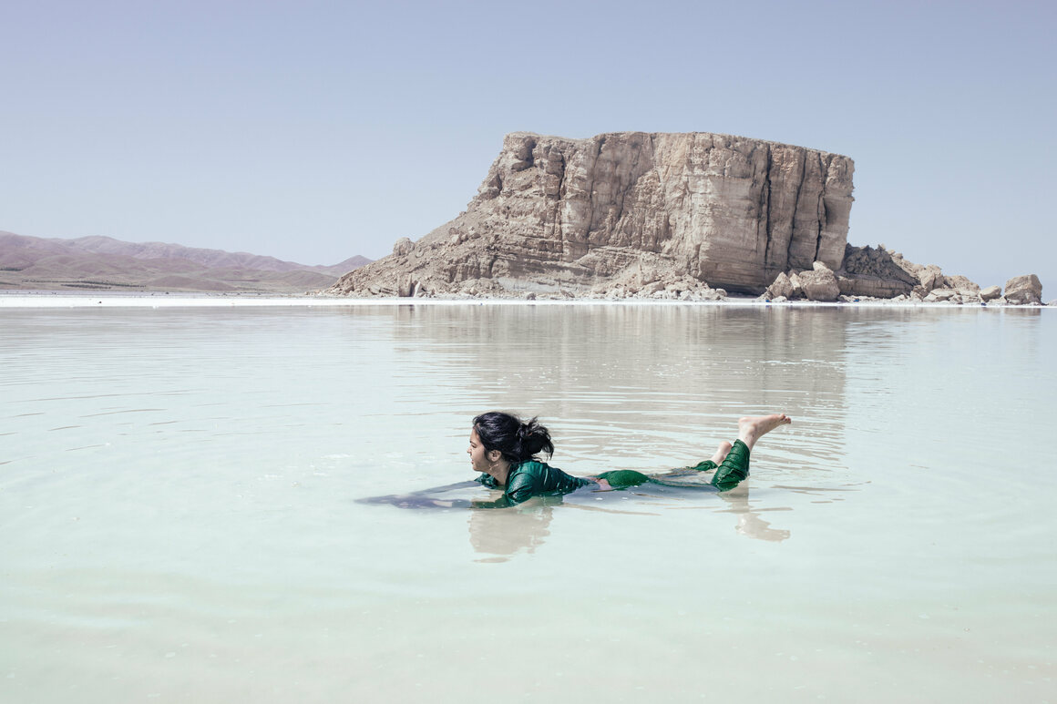 A girl plays in the highly saline waters of what remains of Lake Urmia. The soil in the area is rich in minerals, including iodine and iron.