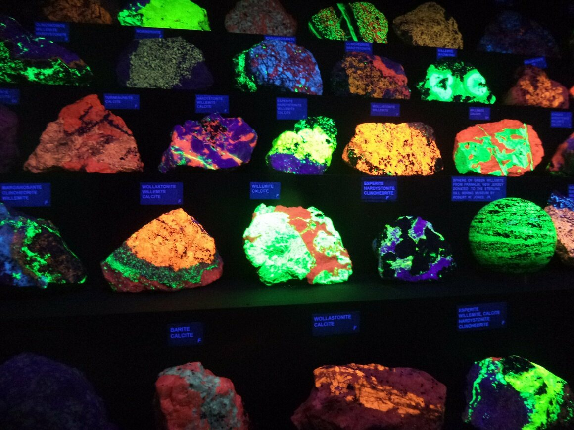 Rocks from New Jersey's Sterling Hill Mine, photographed here in 2014, are known for fluorescing.
