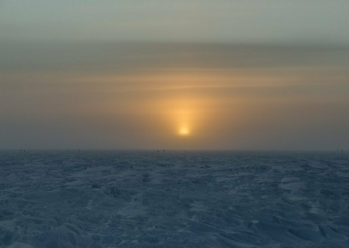 Sunrise from the South Pole in 2019.