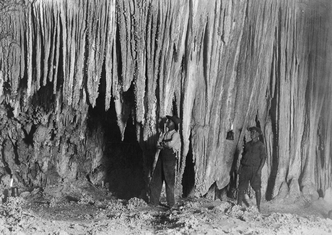 Bat Cave, City of Gods, in what is now Carlsbad Caverns National Park in New Mexico, photographer unknown, 1924.