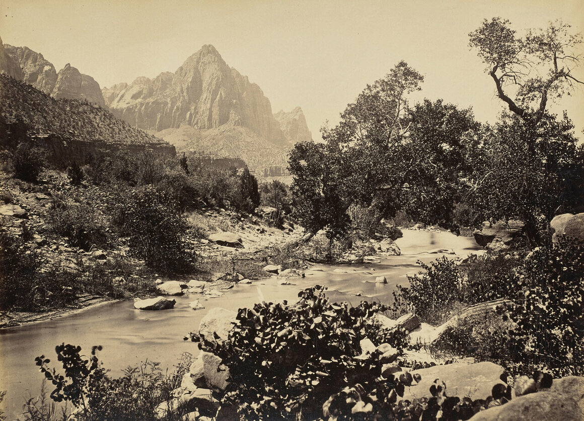 Zion's Peak, Rio Virgen, in what is now Zion National Park in Utah, John K. Hillers, 1873.