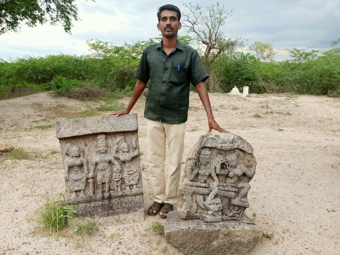 Munaivar Muneeswaran with two of the sati stones he found. The intricacy of the carvings suggest a royal lineage.