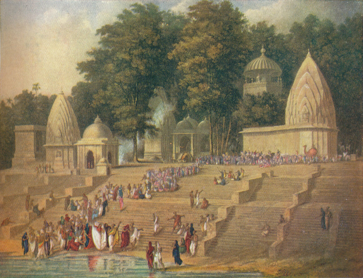 Preparations for a sati ceremony in 1908, from <em>Harmsworth History of the World</em>.