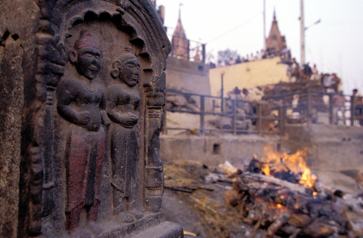 A sati stone at a funeral ghat in the city of Varanasi.